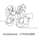 single continuous line drawing... | Shutterstock .eps vector #1755022889