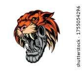 tiger robot head for commercial ... | Shutterstock .eps vector #1755054296
