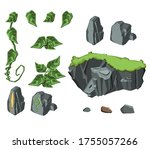 set of rocks and leaves