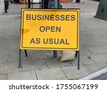 Business Open As Usual Sign...