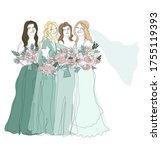 bridesmaids in teal gowns with... | Shutterstock .eps vector #1755119393
