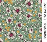 seamless flower  pattern on...   Shutterstock .eps vector #1755168620