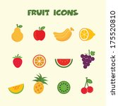 fruit icons  colorful vector... | Shutterstock .eps vector #175520810