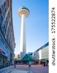 LIVERPOOL, ENGLAND - MARCH 31, 2013: Radio City Tower also known as St. John's Beacon is a radio and observation tower in Liverpool, England, built in 1969. - stock photo
