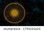 gold astrology chart in deep...   Shutterstock . vector #1755231623