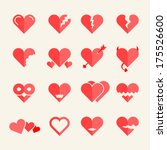 flat vector hearts set | Shutterstock .eps vector #175526600
