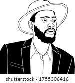 man with a beard in a summer hat | Shutterstock .eps vector #1755306416
