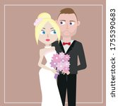 the bride and groom at the...   Shutterstock .eps vector #1755390683