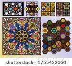 vintage stained glass... | Shutterstock .eps vector #1755423050