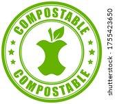 compostable waste vector green... | Shutterstock .eps vector #1755423650