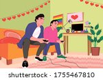 gay couple playing video game...   Shutterstock .eps vector #1755467810