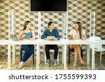 social distancing in food... | Shutterstock . vector #1755599393