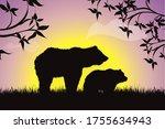 vector silhouette of family of... | Shutterstock .eps vector #1755634943