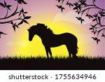 vector silhouette of horse in... | Shutterstock .eps vector #1755634946