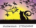 vector silhouette of kitty... | Shutterstock .eps vector #1755634949