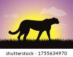 vector silhouette of cheetah... | Shutterstock .eps vector #1755634970