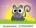vector silhouette of monkey... | Shutterstock .eps vector #1755635009