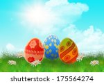 easter eggs in a meadow with... | Shutterstock . vector #175564274