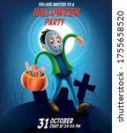 kid in horror costume with... | Shutterstock .eps vector #1755658520