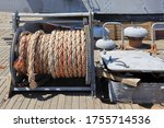 Winch With Rope On An Old Ship