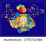 queen's birthday vector... | Shutterstock .eps vector #1755722486