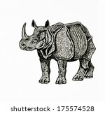 indian rhino drawing | Shutterstock . vector #175574528