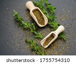 Savory Satureja With A Wooden...