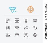 bright icons set. moonlight and ...