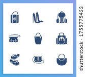 shoes icon set and baby bag...