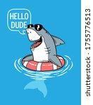 cool shark in pool .vector...   Shutterstock .eps vector #1755776513