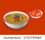 korean spicy hot fiery ramen | Shutterstock .eps vector #1755795089