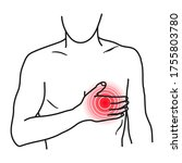heart pain icon  angina chest... | Shutterstock .eps vector #1755803780