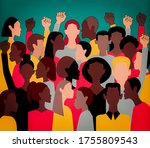 protesters all over the world.... | Shutterstock . vector #1755809543