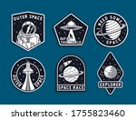 set of space badges  patches ... | Shutterstock .eps vector #1755823460
