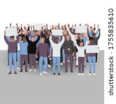 protesting people with hands up....   Shutterstock .eps vector #1755835610