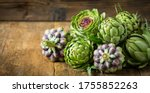 Fresh And Raw Artichoke On The...