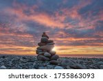 Pebbles Stack On Sea Rocky...