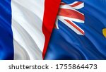 France and Saint Helena flags. 3D Waving flag design. France Saint Helena flag, picture, wallpaper. France vs Saint Helena image,3D rendering. France Saint Helena relations alliance and