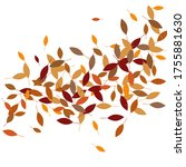 leaves. throw autumn leaves.... | Shutterstock .eps vector #1755881630