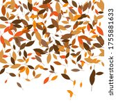 leaves. throw autumn leaves.... | Shutterstock .eps vector #1755881633