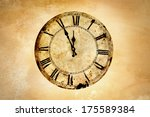 vintage clock on rough wall. | Shutterstock . vector #175589384
