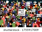 crowd of people protesting ... | Shutterstock .eps vector #1755917009