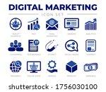 blue digital marketing icon set.... | Shutterstock .eps vector #1756030100