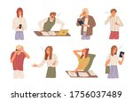 set of different angry people... | Shutterstock .eps vector #1756037489