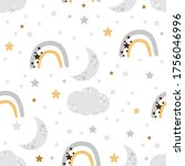 seamless pattern with rainbow...   Shutterstock .eps vector #1756046996