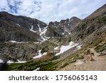 Waterfall Tumbles from Chasm Lake Below Longs Peak