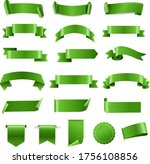 green ribbon set and labels...   Shutterstock .eps vector #1756108856