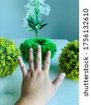 hand reaching for nature and... | Shutterstock . vector #1756132610