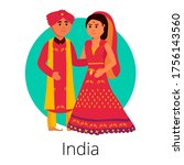 local indian wedding pair with... | Shutterstock .eps vector #1756143560