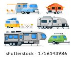 camping trailers and rv car.... | Shutterstock .eps vector #1756143986